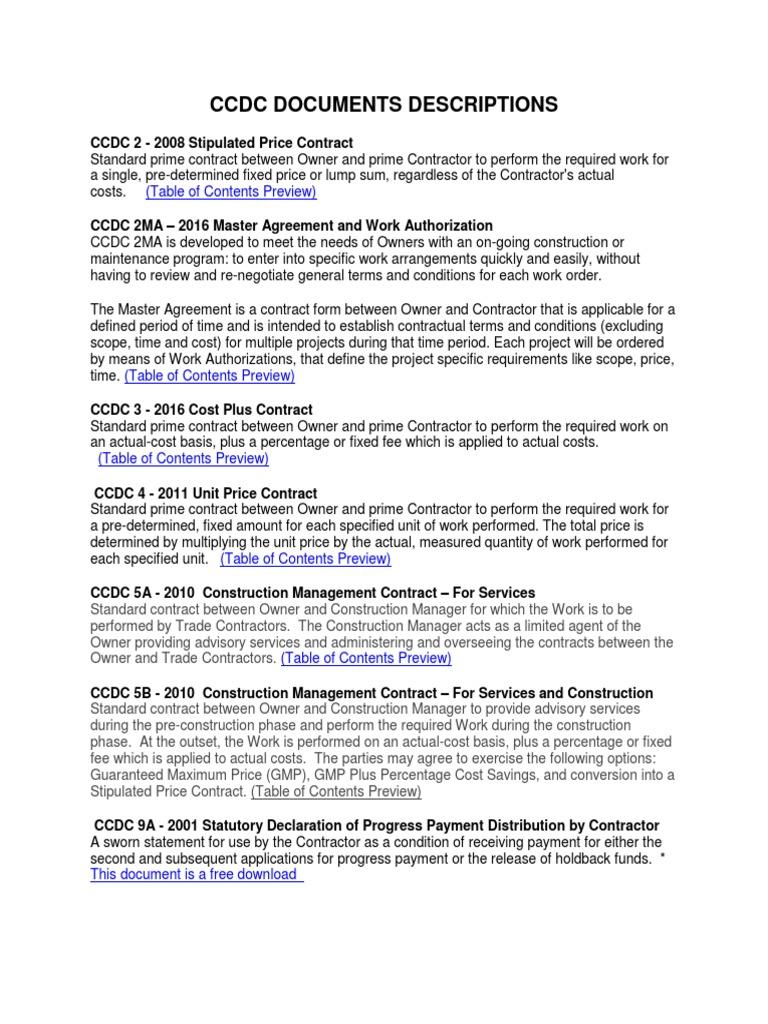 Ccdc Documents Descriptions | Surety Bond | Construction