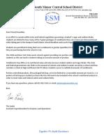 Letter to Parents for Condiment Limits