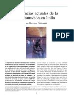 Tendencias Actuales de La Restauración en Iltalia. Giovanni Carbonara