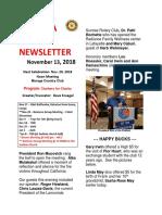 Moraga Rotary Newsletter Nov 13, 2018