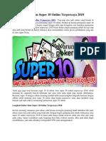 Daftar Situs Super 10 Online Terpercaya 2018