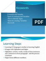 Constants, Variables,& Keywords
