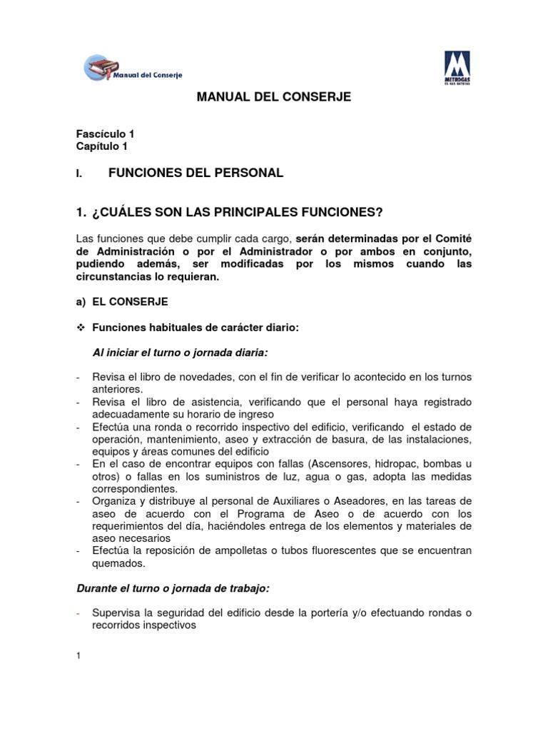Excelente Responsabilidades De Trabajo De Conserje Reanudar ...