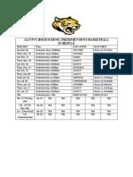 AHS Freshmen Boys Basketball 2 Schedule 2018-19
