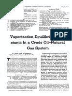 Vaporization Equilibrium Constants