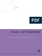Genre and Institututions Rothery e Stenglin (1997)