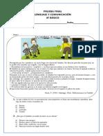 Evaluación 5to B Lenguaje Algebraico E.D