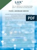 LSAA Job Poster Advert - Senior Italian Restaurant Manager (1)