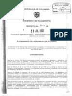 Decreto_1609_2002 Transporte de Mcia en Carretera