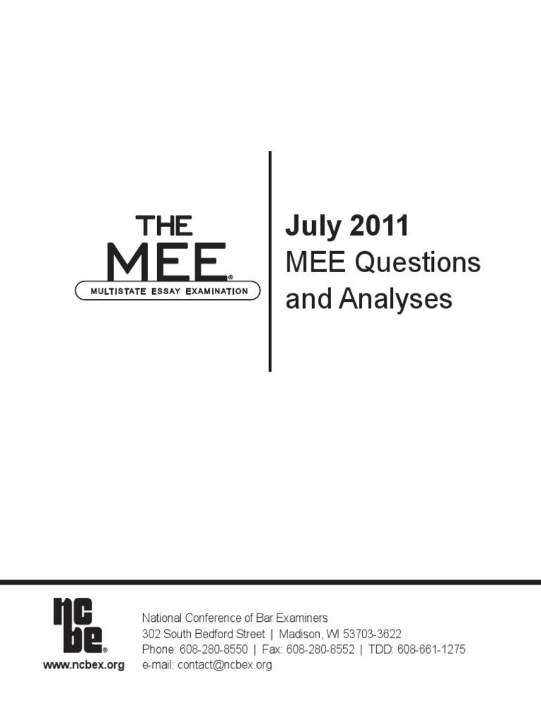 july 2011 california bar exam essay topics