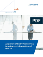 Judgement of the European Court of Justice concerning the adjustment of deductions of input VAT