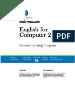 Modul English for Computers 2 TTM3