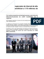 Proyectos Regionales de Internet de Alta Velocidad Benefician a 1