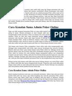 Cara Kenalan Sama Admin Poker Online