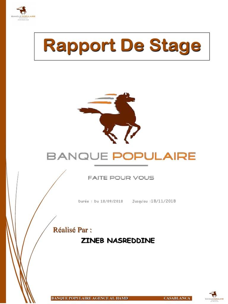 Rapport De Stage Banque Populaire Cheque Banques