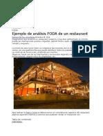 Ejemplo de Análisis FODA de Un Restaurant - Análisis FODA