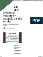 Se Acelera La Morosidad en Créditos Al Consumo y Acumula Un Año en Alza