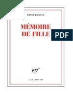 Annie Ernaux - Memoire de Fille