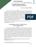 MK Gümrük Birliği Üyeliğinden Günümüze Türkiyenin Dış Ticareti Üzerine Bir İnceleme