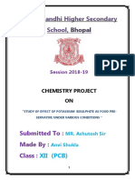 Chemistry Project on Study of Effect of Potassium Bisulphite as Food Pre-servative Under Various Conditions