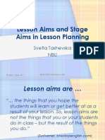 Tashevska Lesson Aims Stage Aims in Lesson Planning