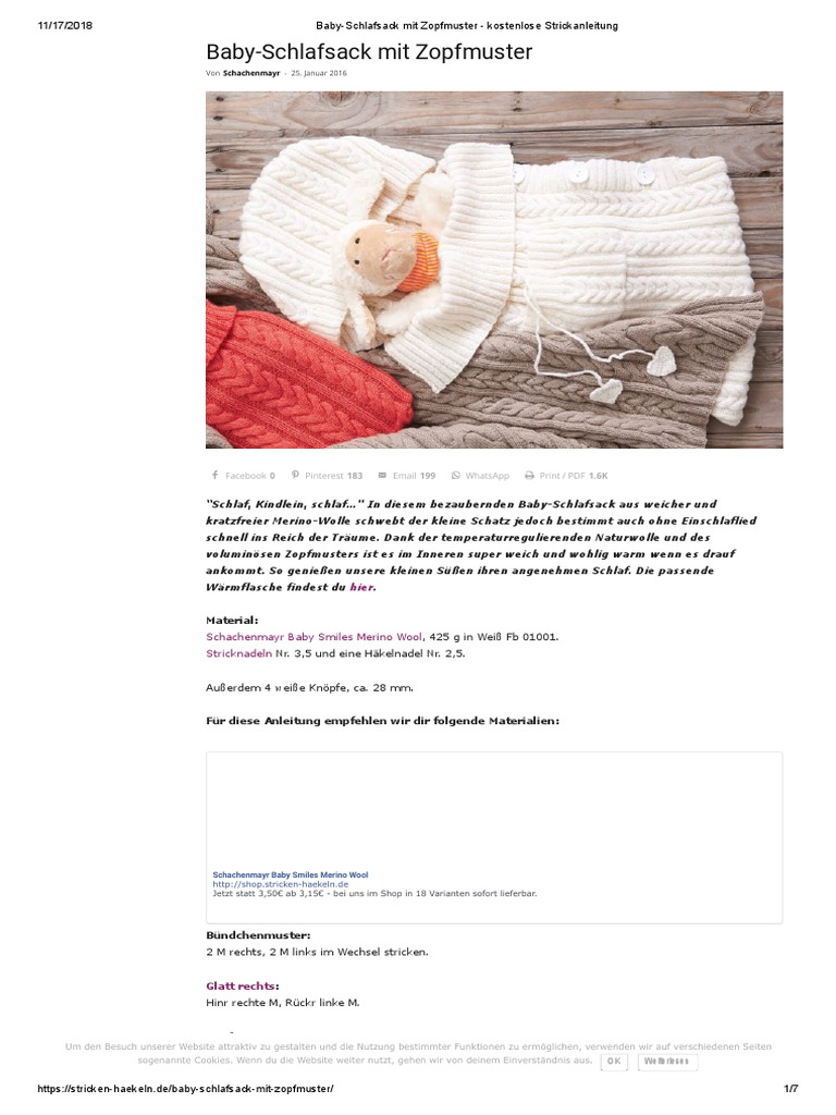 Baby Schlafsack Mit Zopfmuster Kostenlose Strickanleitung