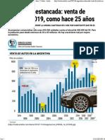 Argentina Estancada Venta de Autos en 2019 Como Hace 25 Años