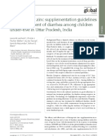 Adherence to Zinc Supplementation Guidelines