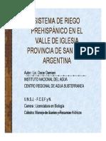 Sistemas de Riego Prehispanico en El Valle de Iglesia