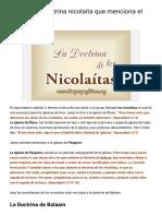 ¿Cuál Es La Doctrina Nicolaíta Que Menciona El Apocalispsis