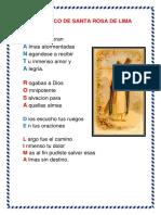 Acróstico de Santa Rosa de Lima