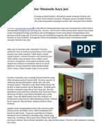 Tips Memilih Furnitur Minimalis Kayu Jati