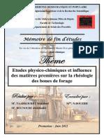 Etude Physico-chimiques Et Influance Des Matières Premières Sur La Rhéologie Des Boues de Forage
