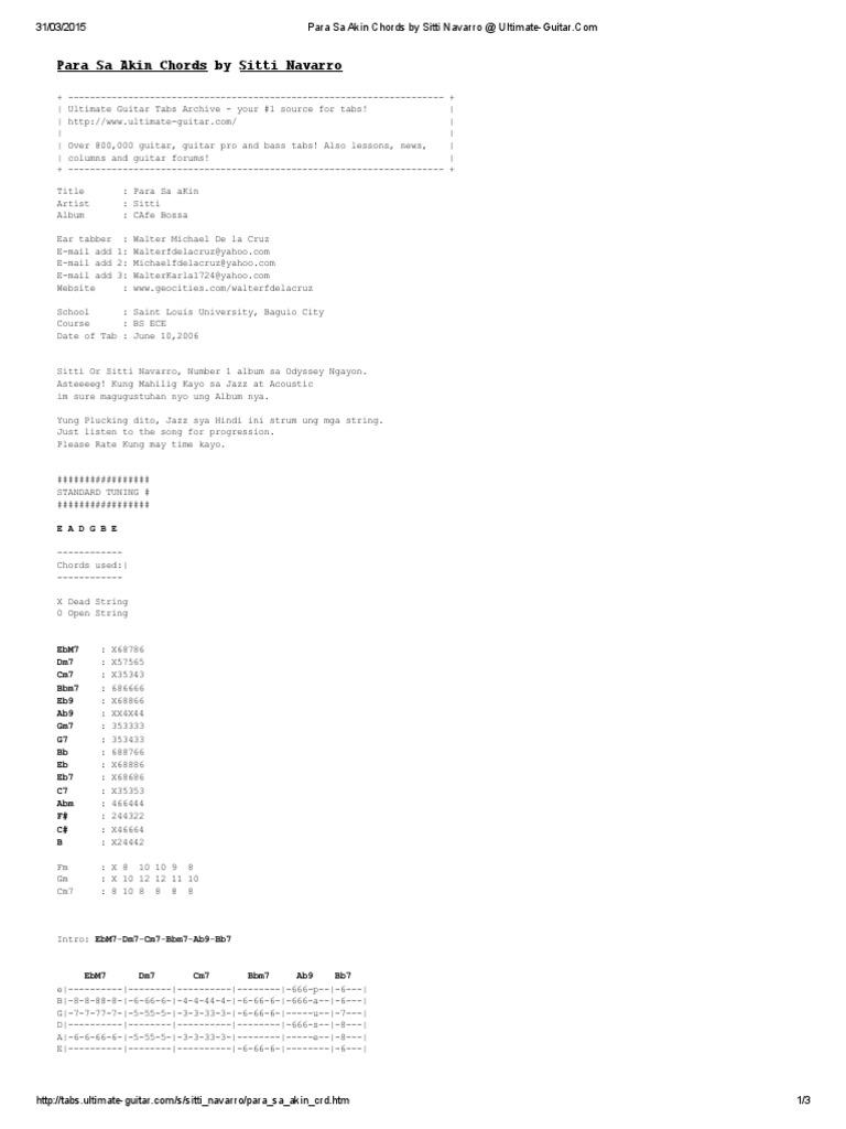 Para Sa Akin Chords by Sitti Navarro Ultimate Guitar PDF