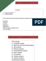Analysis of Food or Standardization