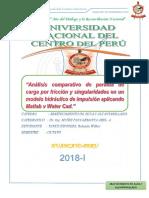 Analisis Comparativo Perdida de Carga Por Friccion y Singularidades en Modelo Hidraulico Por Impilsion,MATLAB Y WATERCAD