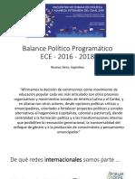 Balance Político Programático ECE - 2016 - 2018