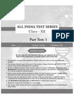 Class - 12 - Part Test - 1
