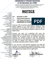 Confederation of Truckers Association of the Philippines Notice to Hike Rates