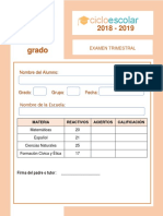 Examen Trimestral Tercer Grado 2018-2019