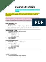 swe mock exam bell schedule fall 2018