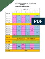 Programación Final de Juegos Deportivos Coes 2018 Nivel Horario General