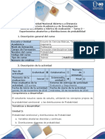 Guía de actividades y rúbrica de evaluación -Tarea 2 - Experimentos aleatorios y distribuciones de probabilidad