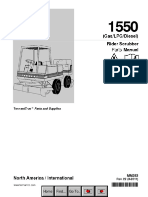 Tennant 1550 Parts Manual | Brake | Liquefied Petroleum Gas
