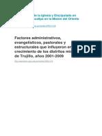 Crecimiento de La Iglesia y Discipulado en Líderes de Pucallpa en La Misión Del Oriente Peruano