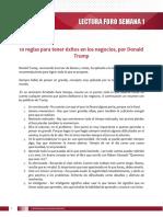Lectura Foro Semana 1 y 2 - 10 reglas para tener éxitos en los negocios DONALD TRUMP.pdf