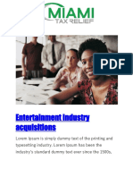 Entertainment Industry Acquisitions - Miami Tax Relief
