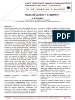 Responsibilities and Qualities of a Supervisor