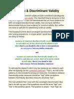 Convergent & Discriminant Validity