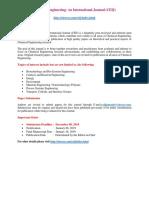 Chemical Engineering an International Journal (CEIJ)